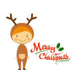 Cute kids and Christmas elements vector Stock Photography
