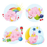 Cute kids cloud. New born little pink clouds Royalty Free Stock Photos