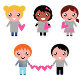 Cute kids collection with heart shapes. Multicultural kids holding valentines hearts. Vector cartoon Stock Image