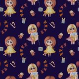 Seamless pattern. kids collection. Cute little girls with of gifts and a balloon and in a yellow dress with a toy hare