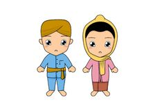Traditional couple dress of Jakarta. Cute kids couple wearing a traditional dress of Jakarta, Indonesia. Simple illustration by pitripiter royalty free illustration