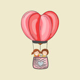 Cute kids in creative hot air balloon. Stock Images