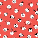 Cute kids doodle animal Polka dots seamless vector background. Pattern with white circles with animal faces on red royalty free illustration