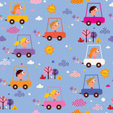 Cute kids driving cars pattern Stock Photos