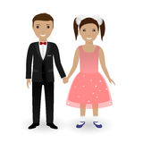 Cute kids in elegant festive clothing holding hands. Boy in tuxedo and girl in beautiful gown. Vector illustration Stock Photography