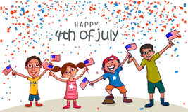 Cute kids with flags for American Independence Day celebration. Stock Images