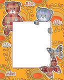 Cute kids frame with bears on yellow Royalty Free Stock Photos