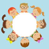 Cute kids friends around the white circle. Over blue background Stock Photography