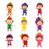 Cute Kids in Fruit and Berry Costumes Vector. Set of cute children wearing fruit and berry costumes Vector Illustration Stock Images