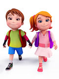 Cute kids going to school with school bag Stock Image