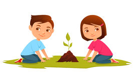 Cute kids growing a plant Stock Image