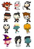 Cute Kids in Halloween Costumes. A set of playful and cute characters in halloween costumes Stock Images