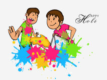 Cute kids for Happy Holi festival celebration. Cute little kids throwing colors to each other on occasion of Indian festival, Happy Holi celebration Stock Photography