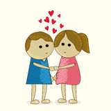 Cute kids for Happy Valentine's Day. Royalty Free Stock Image