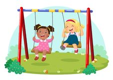 Cute kids having fun on swing in playground. Vector illustration of cute kids having fun on swing in playground stock illustration