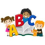 Cute Kids holding a Book ABC. Vector Illustration of Cute Kids holding a Book ABC Royalty Free Stock Image