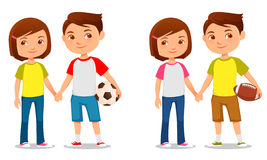Cute kids holding hands. Cute cartoon kids holding hands royalty free illustration