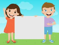 Cute kids holding signs for your text. Boy and a girl over nature background smiling and holding a blank template for your text. Colorful vector illustration Royalty Free Stock Photos