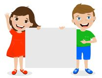 Cute kids holding signs for your text. Boy and girl on white background smiling and holding a blank template for your text. Colorful vector illustration Stock Photos
