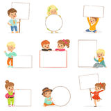 Cute kids holding white blank boards in different poses set. Smiling little boys and girls in casual clothes with empty. Posters vector illustrations isolated Royalty Free Stock Photography