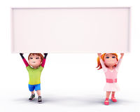 Cute kids holding white sign Royalty Free Stock Photography