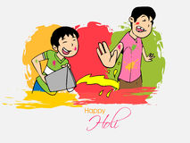 Cute kids for Indian festival, Happy Holi celebration. Cute little kids enjoying and playing with colors on occasion of Indian festival, Holi celebration Stock Image