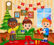 Cute kids in the living room during christmas. Illustration of cute kids in the living room during christmas Royalty Free Stock Image