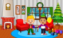 Cute kids in the living room during christmas. Illustration of cute kids in the living room during christmas Stock Photography
