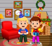 Cute kids in the living room during christmas. Illustration of cute kids in the living room during christmas Stock Image