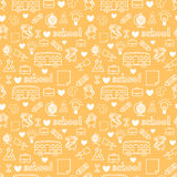 Cute Kids love school doodle seamless pattern Stock Images