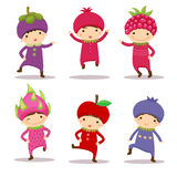 Cute kids in mangosteen, pomegranate, raspberry, dragon fruit, a stock illustration