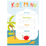 Cute kids meny. Kids menu. Cute kids meal meny vector template with cartoon vegetables. Healthy food for child. Kids meny flyer with sea island and aborigine Royalty Free Stock Images