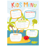 Cute kids meny. Kids menu. Cute kids meal meny vector template with cartoon vegetables. Healthy food for child. Kids meny flyer with sea island and aborigine Royalty Free Stock Photo