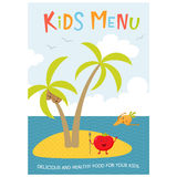 Cute kids meny. Kids menu. Cute kids meal meny vector template with cartoon vegetables. Healthy food for child. Kids meny flyer with sea island and aborigine Royalty Free Stock Photography
