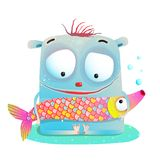 Cute Kids Monster Holding Fish Royalty Free Stock Photography