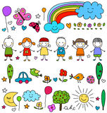 Cute kids and nature elements pattern Stock Images