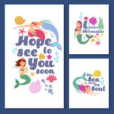 Cute kids nautical vector cards. Marine childrens invitations with funny mermaid girls Royalty Free Stock Images
