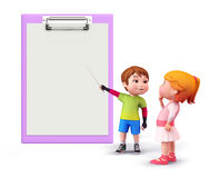 Cute kids with notepad Royalty Free Stock Image
