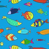 Cute kids pattern with color cartoon fishes. Cute kids marine seamless pattern with color cartoon fishes. Naval colorful aquarium or river fish on blue Royalty Free Stock Photo