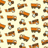 Cute kids pattern with flat orange dozer, tractor Stock Photo