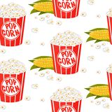 Cute kids pattern for girls and boys. Colorful pop corn on the abstract grunge background create a fun cartoon drawing. royalty free illustration