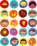 Cute kids pattern with icons,  illustration Stock Photo