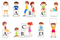Cute kids with placards Stock Photography