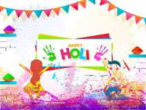 Cute kids playing with colours on occasion of Happy Holi celebration. Banner or poster design royalty free illustration