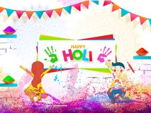 Cute kids playing with colours on occasion of Happy Holi. Cute kids playing with colours on occasion of Happy Holi celebration banner or poster design vector illustration