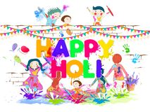 Cute kids playing with colours on occasion of Happy Holi festival. Cute kids playing with colours on occasion of Happy Holi festival, poster or banner design vector illustration