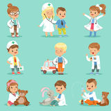 Cute kids playing doctor set. Smiling little boys and girls dressed. As doctors examining and treating their patients vector illustrations isolated on a light Royalty Free Stock Photos