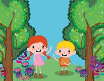 Cute kids at forest. Cute kids playing at forest vector illustration graphic design Stock Photos
