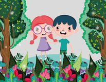 Cute kids at forest. Cute kids playing at forest vector illustration graphic design Royalty Free Stock Photos
