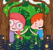 Cute kids at forest. Cute kids playing at forest vector illustration graphic design Stock Photo